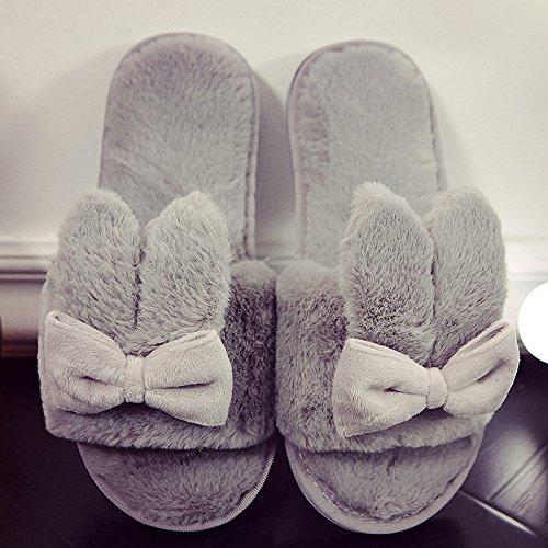 DogHaccd pantofole,Il cotone pantofole inverno femmina incantevole soggiorno di casa con anti-slittamento peluche caldo pantofole, autunno e inverno Grigio3