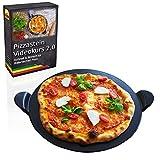 Esprevo Pizzastein rund Ø 33cm aus glasiertem Cordierit | für Backofen, Grill & Gasgrill + gratis Videokurs