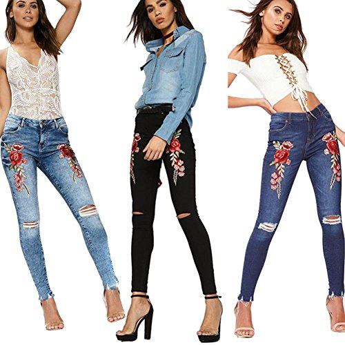 Occitop Women Denim Pants Ripped Embroid Skinny Long Trousers Elastic Holes Jeans