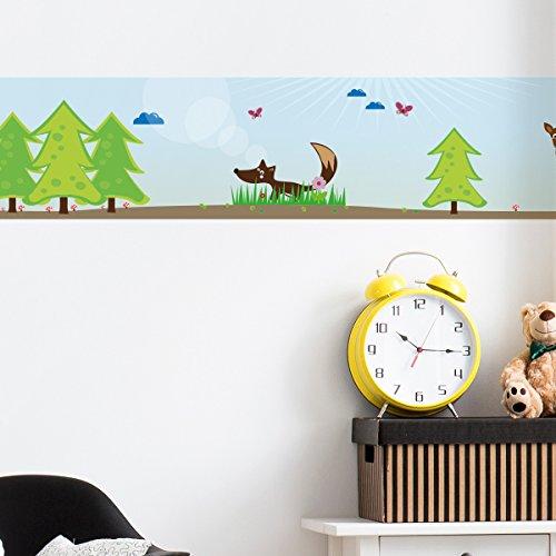 Wandkings Bordüre - Wähle ein Motiv - Waldtiere - 3x selbstklebende Wandbordüren je 150 cm - Gesamtlänge: 450 cm - Höhe: 12,5 cm