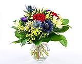 Blumenversand - Blumenstrauß - zum Geburtstag - Sommerleuchten mit roten Rosen - mit Gratis - Grußkarte zum Wunschtermin versenden