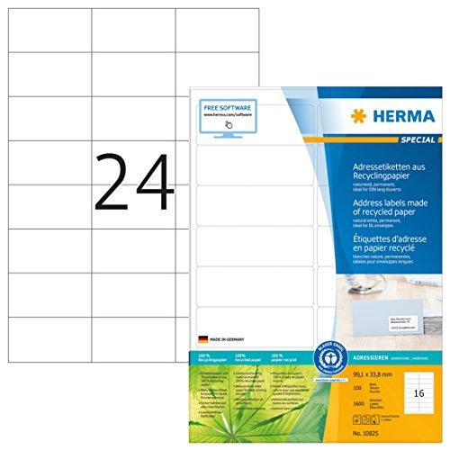 Herma 10824 Recycling Etiketten (70 x 37 mm, DIN A4 Papier matt) 2.400 St., 100 Blatt, naturweiß, bedruckbar, selbstklebend, Blauer Engel
