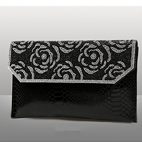 pochette a mano con punta di diamante diamante pacchetto busta cena di spalla del messaggero ( Colore : Silver ) Nero
