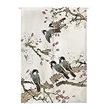 Insun Tür Vorhang Japanische Noren Wandteppiche Baumwolle Leinen Zimmer Divider mit Teleskopstange Vögel auf Dem AST 80cm X 150cm