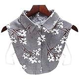 A0127 Frauen Bluse Sweatshirt Weste Revers Gef?lschter falscher Kragen abnehmbare vertikale gestreifte mit Blumen Bedruckte Cord Cord halb Hemd Krawatte Knopf