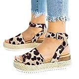 Sandalias Mujer Plataformas Verano Cuña Piel 5 CM Tacon Punta Abierta Plana Tobillo Zapato De Playa Moda Fiesta Leopardo 35