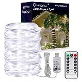 Onforu 20M LED Tubo Luminoso Flessibile, Ghirlande USB de 8 Modi con Timer, Catena Luminosa Telecomandata Impermeabile IP67, 6000K Bianco Freddo per Interni ed Esterni Giardino Festa di Natale