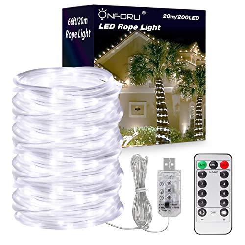 Onforu 20m LED Lichtschlauch mit 8 Modi, Dimmbar Licht mit USB-Anschluss, Timer, IP65 Wasserdicht, 200 LEDs Kaltweiß Lichterkette Geeignet für Innen Außen Party Balkon DIY Deko