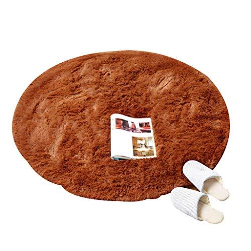 WYNZYDT Brown Runder Teppich, Couchtisch Mat Schlafzimmer Hängenden Korb Teppich Computer Stuhl Kissen Runde Teppich Schminktisch Teppich (größe : 1m in Diameter)