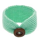 Frcolor Testa di bambino turbante avvolgere fasce ragazza maglieria pulsante Hairbands (turchese)