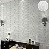 Baikoushuo Modernos diseños de Papel Pintado geométricos Vinilo Blanco texturado Gris Plata Rollo de Papel de Pared para el Dormitorio y el baño 10mx53cm 03