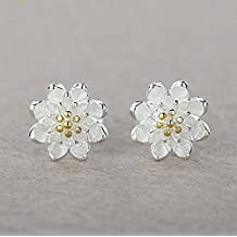 CS priorità-Orecchini a lobo a forma di fiore di loto in argento con piccoli orecchini, perfetta come regalo da donna - Orecchini