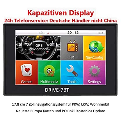 7-Zoll-Navigationsgert-Navi-Navigationssystem-DRIVE-TECH-fr-LKW-PKW-WOHNMOBIL-Camper-50-Lnder-Europas-Text-to-Speech-lebenslange-Kartenupdates-Fahrspurassistent-Kapazitiven-Touchscreen