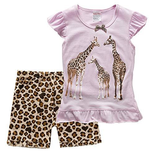 Baby Girl Giraffe Pajamas Set Children PJS Clothes Cotton Sleepwear