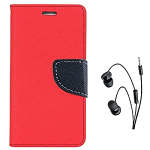 Avzax Diary Look Flip Case Cover For Lyf Water 5 (Red) + In Ear Headphone