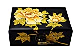 Schmuckkästchen Schmuckkoffer von MDF,Schmuckschatulle mit spiegel,antikes metallschloss und farbiges gemälde des blumen des chinesischen stils,reine handarbeit 21 * 14 * 8 cm , black2