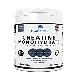 51iuQGmnPBL. SS300  - Creatine Monohydrate Tablets by Opal Fitness – Micronised, Easy to Swallow Tablets - Scientifically
