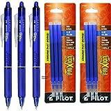 Pilot-3 Bolígrafos Borrables Frixion Clicker Azul y  Seis Recambios