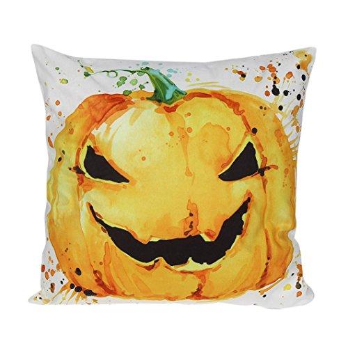 Kissenbezug Frohe Halloween Kissenhülle 45x45 cm Ronamick Halloween super weich gestreiften Kürbis Umarmung Kissenbezug (C)