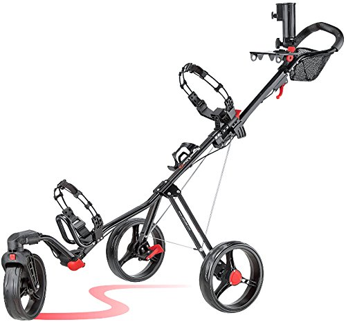 Caddytek Superlite Swivel 360 ALU 3 Rad Golf Push Trolley Black