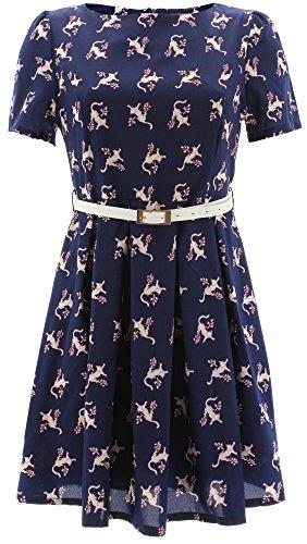 Shikha London - Robe - Manches Courtes - Femme Bleu - Bleu