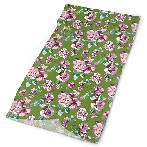 Vintage Pattern With Pink And Purple Roses And Peons Headwear Bandanas Seamless Headscarf Outdoor Sport Headdress Running Riding Skiing Hiking Stirnbands