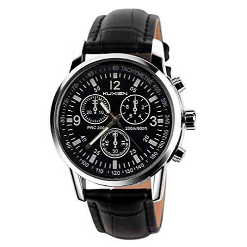 Männer Uhren Armbanduhr KUXIEN Casual Herren Armbanduhr Uhren ,Analog Quarz Armbanduhr mit schwarzem Lederband