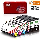 Toner Kingdom 5 Pack HP 950XL 951XL Tintenpatronen kompatibel für HP Officejet Pro 8600 8610 8620 8100 8630 8640 8860 8660 8625 8615 251dw 276dw Drucker (2 Schwarz,1 Cyan,1 Magenta,1 Gelb)