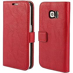 FDTCYDS Etui Galaxy S6 Edge,Pochette Portefeuille en Cuir Véritable Coque de Protection pour Housse Samsung Galaxy S 6 Edge avec Fonction Stand - Red/Rouge