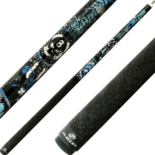 Players Live Hard Play D-GFB Blue/White/Black Anarchy Skulls with Mz Multi-Zone Grip Queue, schwarz, 18-Ounce