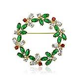 Bling Jewelry Marquise Zirkonia Grün Rot Mode Weihnachten Urlaub Runden Kranz Broschen & Anstecknadeln Für Damen 14K Vergoldet Messing
