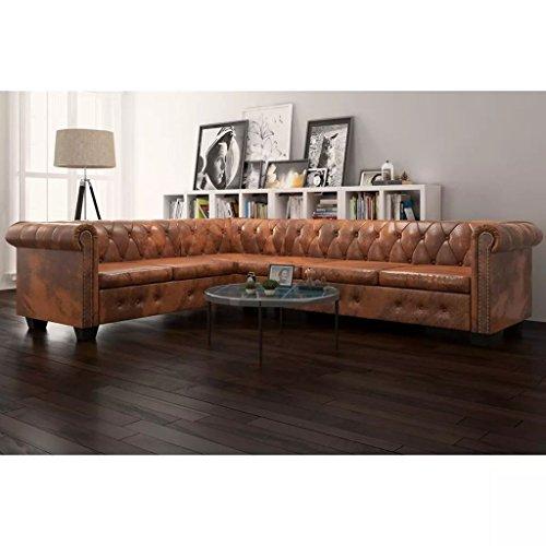 Senluowx divano angolare, 6 posti chesterfield pelle artificiale marrone.questo divano ha design moderno e elegante,anche perfetto comfort.
