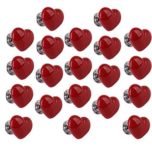 F Fityle Set 20 Heart Shaped Ceramic Door Cabinet Bin Griff Pull Knob Hardware S - rot, wie beschrieben -