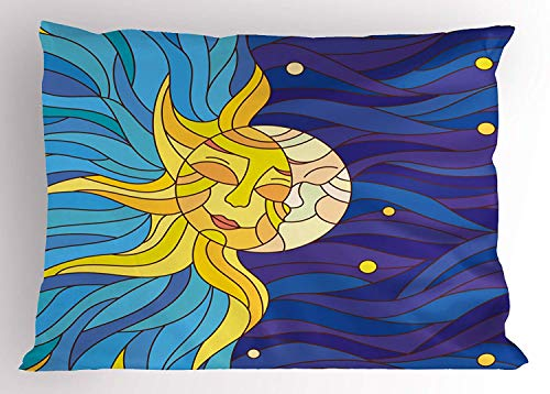 Ejjheadband Sun and Moon Pillow Sham, Artistic Sky with Colorful Waves Sun and Moon Couple in Love Day's Cycle Myth, Decorative Standard Queen Size Printed Pillowcase, 30 X 20 inches, Multicolor