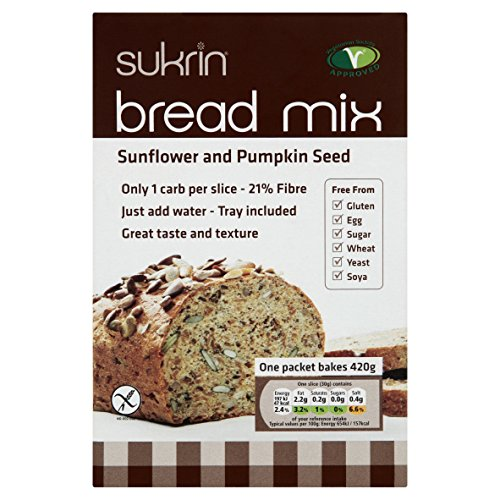 Preisvergleich Produktbild Sukrin Sunflower and Pumpkin Seed Low Carb Free-From Bread Mix. Low Fat, Low Calorie, Egg, Yeast, Soya, Sugar, Wheat and Gluten Free, Great Taste! (210g)