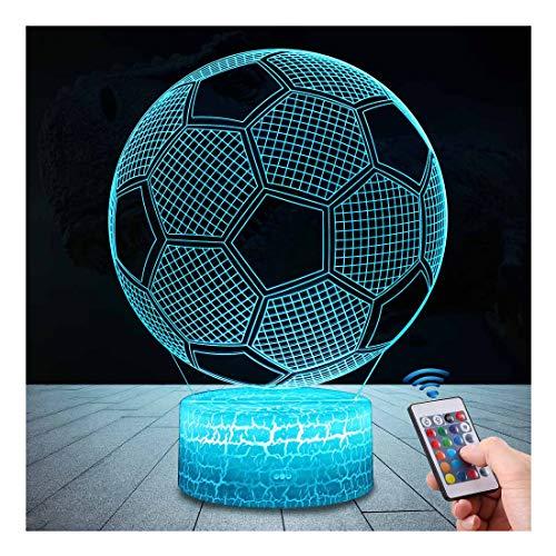 Football 3D Lampes avec Télécommande, QiLiTd LED Lampe 16 couleurs Lumière Dimmable Tactile Interrupteur USB/Batterie Insérer, Decoration Anniversaire Cadeau Noël Pour Bébé Enfant Ado Femme Homme