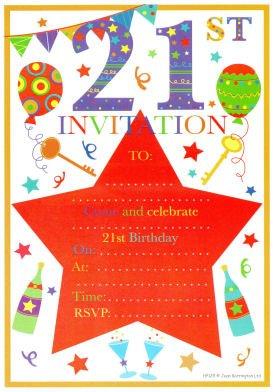 21ST compleanno inviti per feste, confezione da 20
