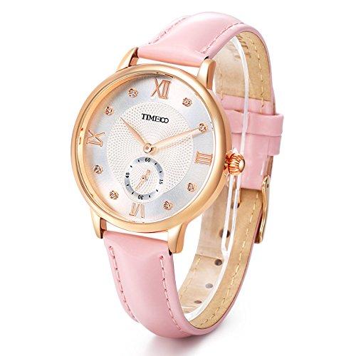 Time100 W80099G.03A Reloj cuarzo para mujer de número romano con diamante de color rosa con segundero ideas de regalo para el día de la madre