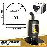 Temprix Funkenschutzplatte | Für Kamin & Ofen geeignet | Kaminbodenplatte Glas mit C-Schliff | 1200 x 1000 mm | Sondermaße & Anfertigung auf Anfrage