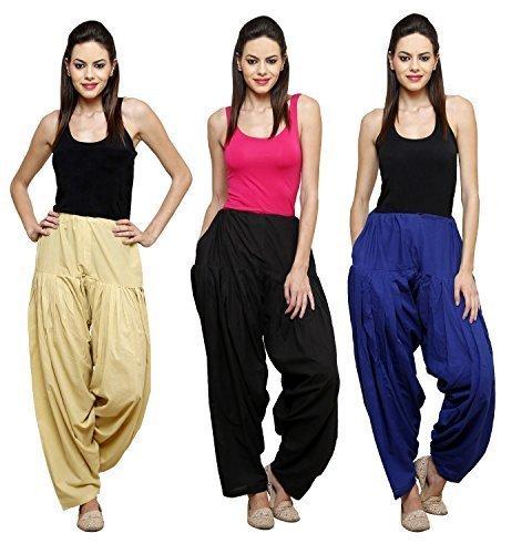 Fashion Store Women Cotton Patiala Salwar Combo Of 3 (Free Size, Skin & Black & Dark Blue