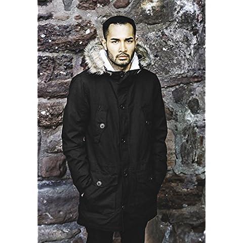 Urban Classics TB1160 Sherpa Lined Cotton Parka Streetwear Chaqueta de Invierno Para Hombre, negro, L