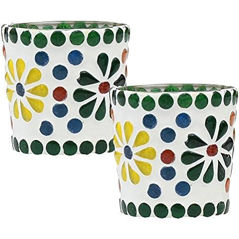 Stock limitado - SouvNear Glass Mosaic Portacandelitas con patrón de flores - 5.8 cm - multicolor - Mosaico de vidrio - Tabla Top esenciales para hogar y oficina Decoración - ideas para regalos de