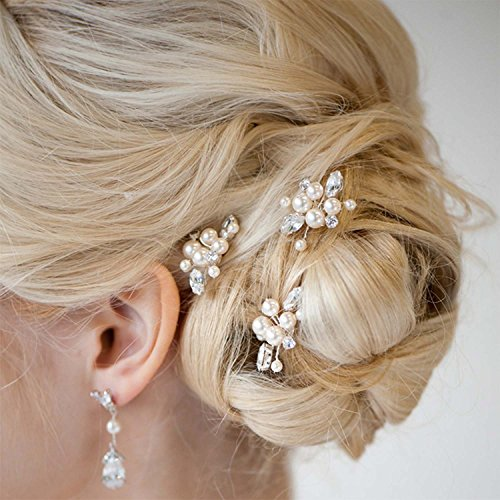 Aukmla Damen Haarschmuck, Brautschmuck, Haarnadeln, 3 Stück - Braut-haar Pins