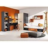 Habitación de los Niños Juego juvenil habitaciones IKS.01(5piezas) Derecho Antracita/roble Crema/Naranja Niños Muebles