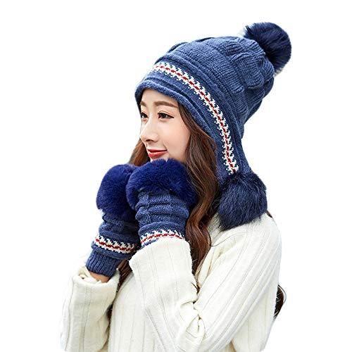WYYUE Damenhut und -handschuh-Set Mütze für Wintermütze und Stretchhandschuh für warme Mütze Outdoor-Handschuhe,Blue,Onesize -