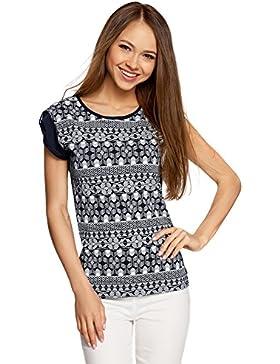 oodji Ultra Mujer Camiseta con Estampado Étnico