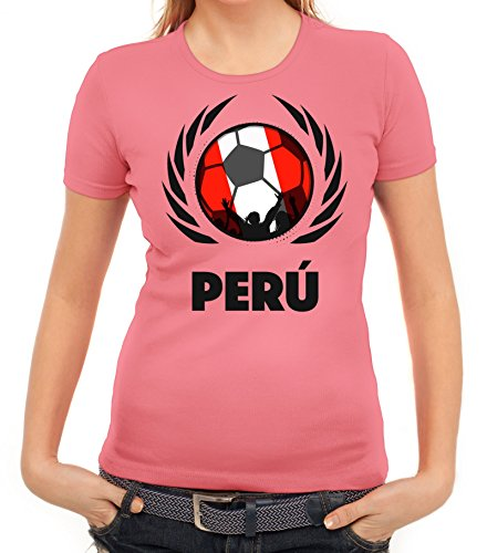 ShirtStreet World Cup Wappen Soccer Fussball WM Fanfest Gruppen Fan Wappen Damen T-Shirt Fußball Peru Rosa