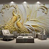 3D dreidimensionale geprägte Gold Pfau Hintergrund Wandmalerei Wohnzimmer Schlafzimmer Dekoration