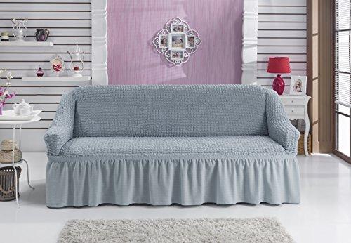 Sofaueberwurf elastisch / 3 Sitzer bezug / aus Baumwolle & Polyester in grau. Sofabezug / Stretch Husse / Sofa Bezug / Sofabezuege / Sofa Husse / Husse / Hussen