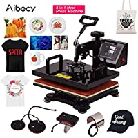 Festnight Heat Press,12 * 15 Inch Combo Heat Press Machine 5 in 1 Sublimation Heat Transfer Multifunction Machine 360-degree Rotation for T-shirt/Bag/Phone Cover/Plate/Cap/Hat/Mug